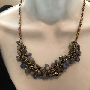 Ann Taylor loft blue gold beaded necklace